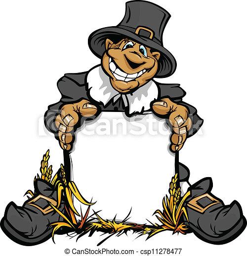 Imagen de vector cartoonal de un feliz pigrim festivo sosteniendo una señal - csp11278477