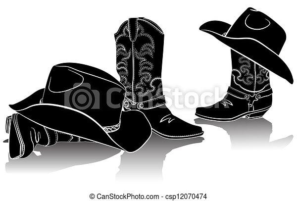 Botas de vaqueros y sombreros occidentales. Imagen gráfica negra en el trasero blanco - csp12070474