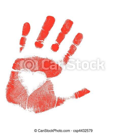 La huella de la mano del amor. Vector - csp4432579