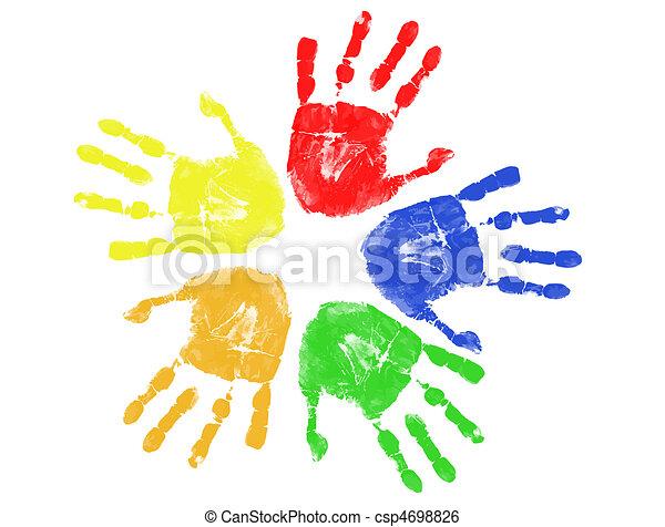 Huellas de manos coloridas - csp4698826