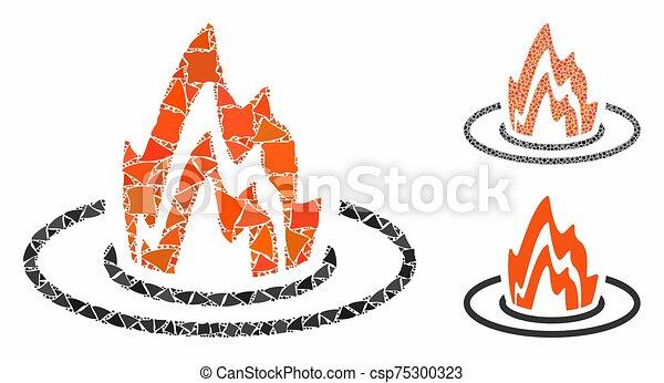 inequal, mosaico, partes, ubicación, icono, fuego - csp75300323