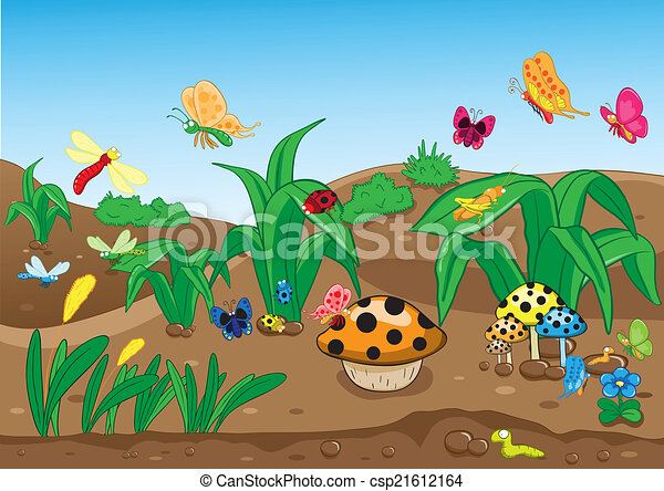 Insectos familiares en el suelo - csp21612164