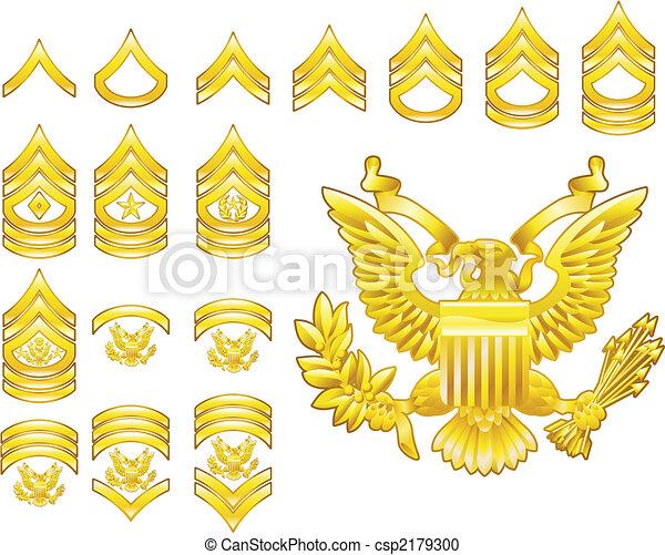 El ejército americano alistó símbolos de rango - csp2179300