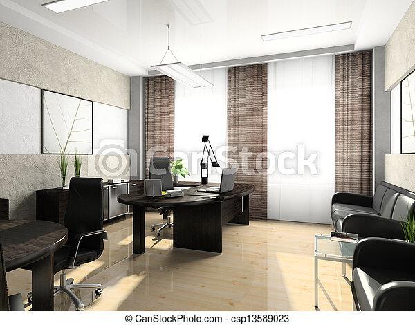 lnterior del gabinete de la oficina 3D - csp13589023