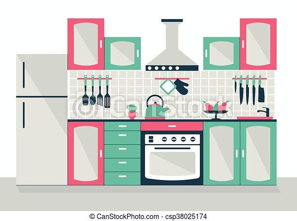 Interior de cocina moderna - csp38025174
