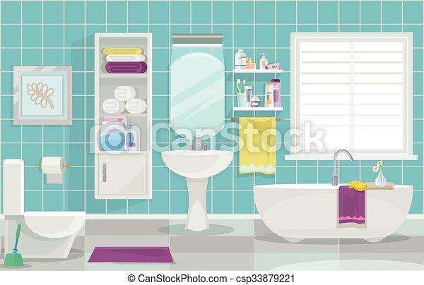 Interior moderno del baño - csp33879221