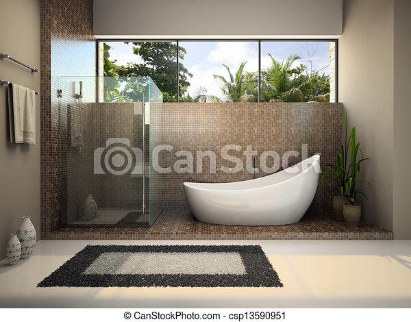 Interior moderno del baño - csp13590951