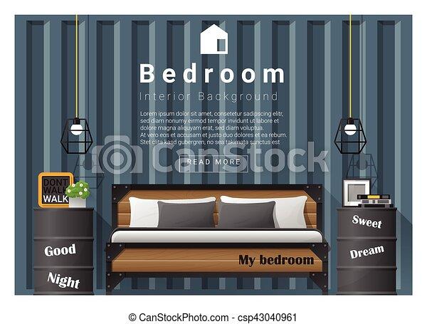 Diseño moderno de interiores de dormitorio - csp43040961