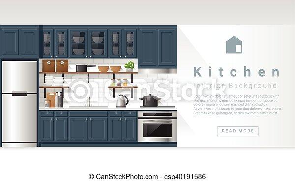 Diseño de interiores modernos de cocina - csp40191586