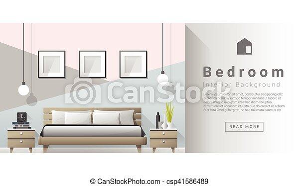 Diseño de interiores moderno fondo de dormitorio - csp41586489