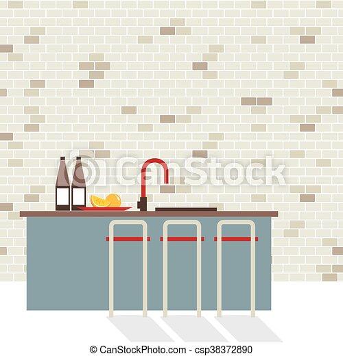 Modern diseño plano interior de cocina - csp38372890