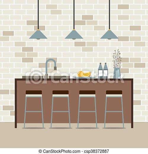 Modern diseño plano interior de cocina - csp38372887