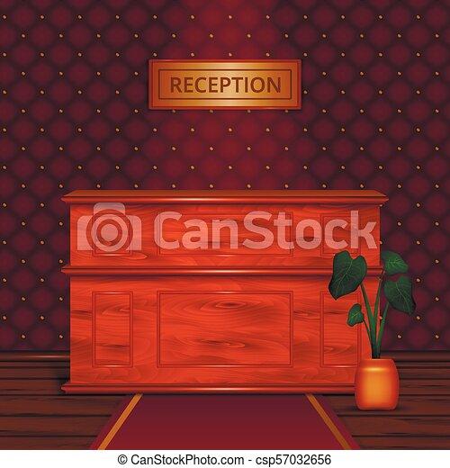 Recepción de escritorio interior realista - csp57032656
