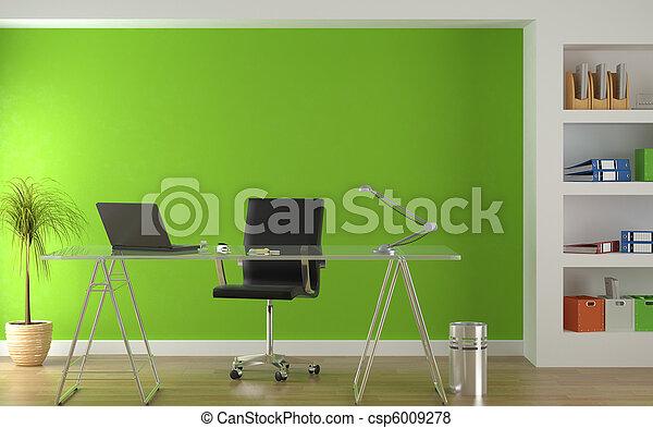 Diseño interior de la moderna oficina verde - csp6009278