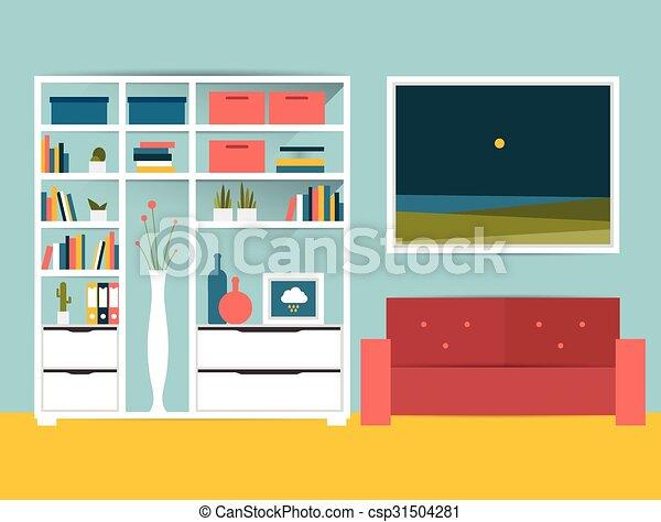 El interior de la sala. Diseño plano - csp31504281