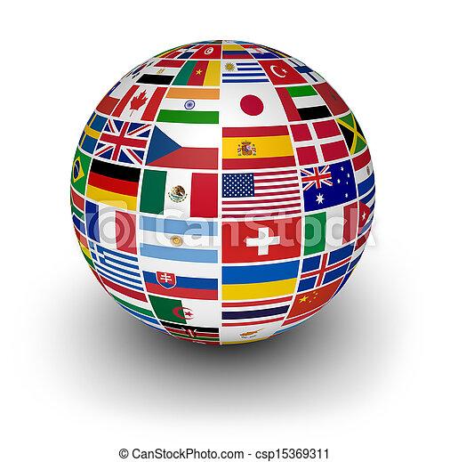 Globos banderas internacionales - csp15369311