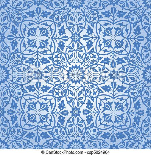 Interviniendo el patrón floral azul - csp5024964