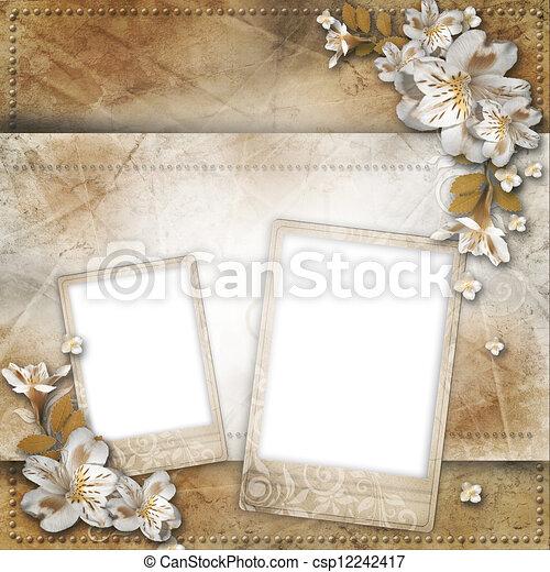 Formularios con cuadros y flores para felicitaciones e invitaciones - csp12242417