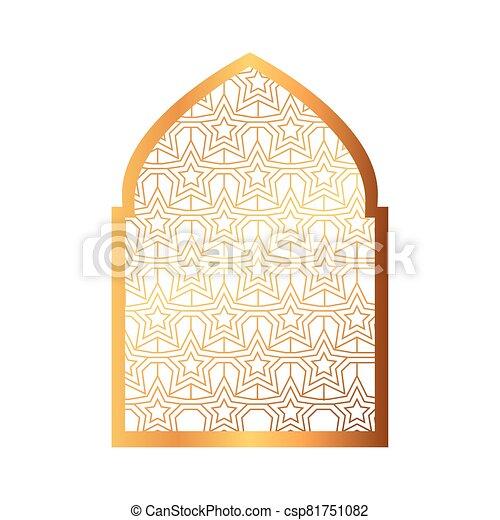 islámico, árabe, ornamental, arco, musulmán, tradicional - csp81751082