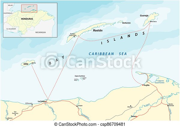 islas, bahía, honduras, caribe, mapa, vector - csp86709481