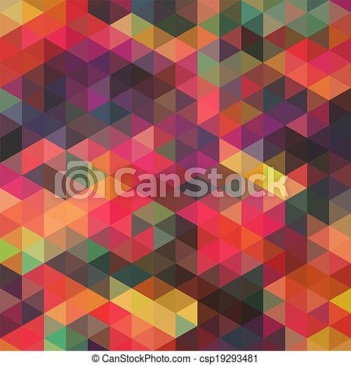 Triángulos de formas geométricas. Colorido fondo mosaico. Trasfondo moderno geométrico retro, coloca tu texto en la parte superior. Trasfondo de triángulo retro. Telón de fondo - csp19293481
