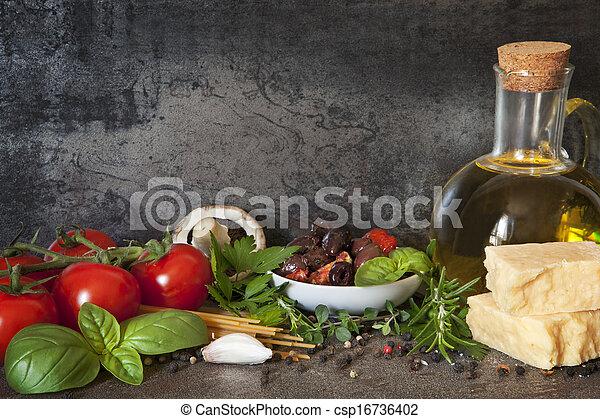 Antecedentes de comida italiana - csp16736402