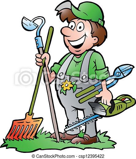 Jardinero con herramientas - csp12395422