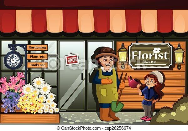 Jardinero en una florería con niño - csp26256674