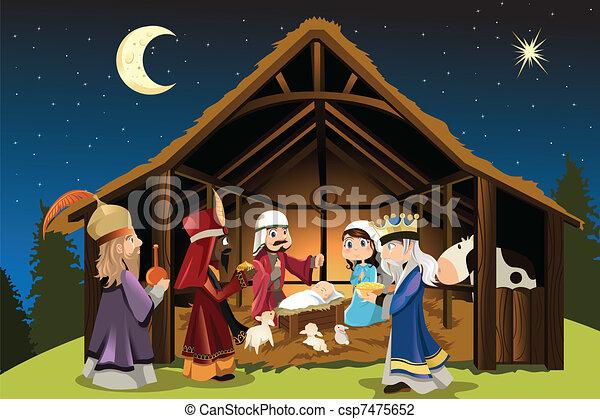 Jesucristo y tres hombres sabios - csp7475652