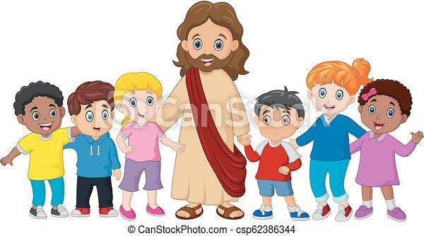 Niños con Jesucristo - csp62386344
