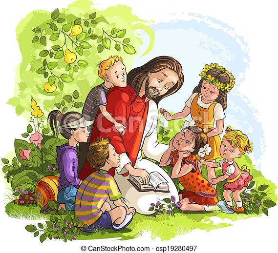 Jesús leyendo la Biblia con niños - csp19280497
