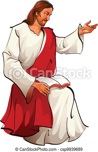 Vista lateral de Jesús sentado - csp9939689