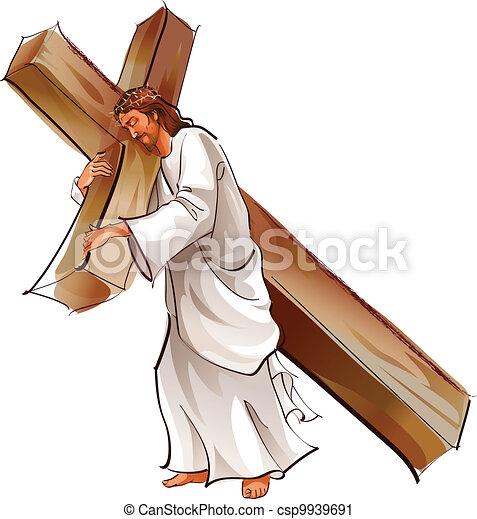 Jesucristo sosteniendo cruz - csp9939691
