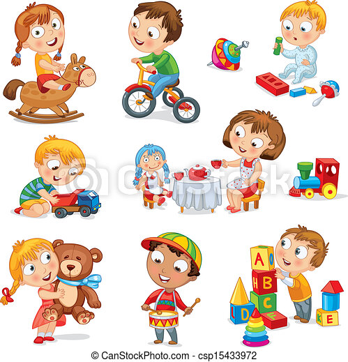 Los niños juegan con juguetes - csp15433972