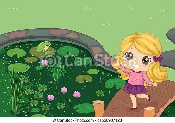 Niña pequeña estanque juega ilustración de ranas - csp58907123