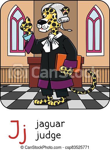 juez, j, abc, jaguar, animal, alfabeto, profesiones - csp83525771