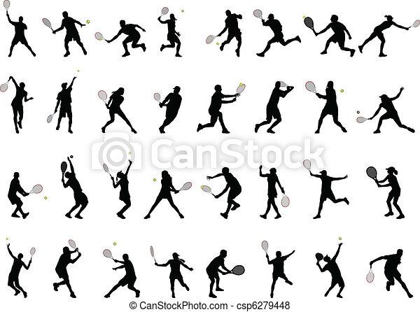 Jugadores de tenis siluetas - csp6279448