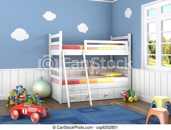 El cuarto de los niños azules con juguetes - csp6202801