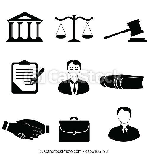 Justicia, iconos legales y legales - csp6186193