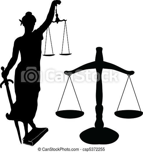 La estatua de la justicia y Libra - csp5372255