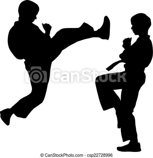 Siluetas negras de karate. Ilustración de vectores deportivos. - csp22728996