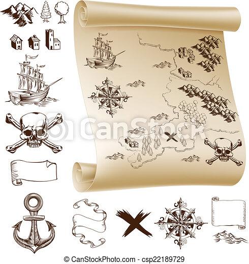 Kit de mapa del tesoro - csp22189729