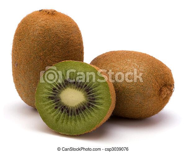 Fruta Kiwi aislada de fondo blanco - csp3039076