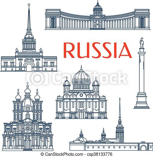 Atracciones arquitectónicas rusas iconos de delgada línea - csp38133776