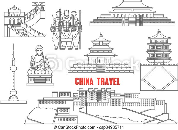 China marca puntos de referencia delgada línea iconos - csp34985711
