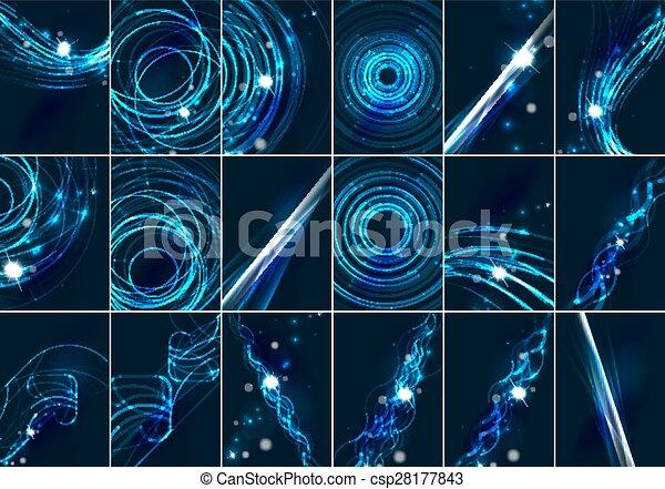 Líneas de color abstractos y brillantes en el espacio oscuro con estrellas y efectos de luz ambientados - csp28177843