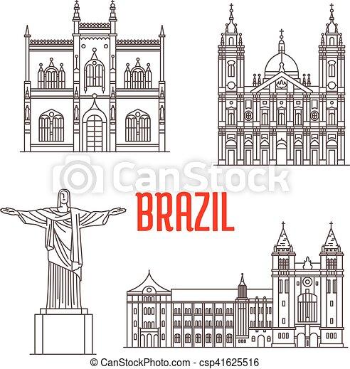 La arquitectura viaja puntos de referencia de Brasil - csp41625516