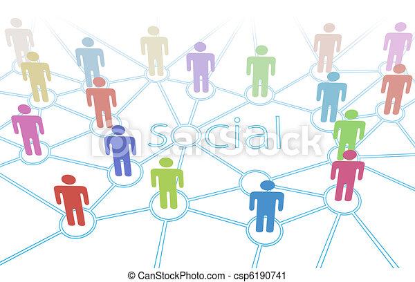 La cadena social colorea las conexiones de los medios - csp6190741