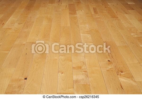 La cancha de baloncesto de Hardwood vista desde un ángulo bajo - csp26216345