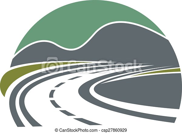 La carretera o la carretera desaparecen cerca de las montañas - csp27860929